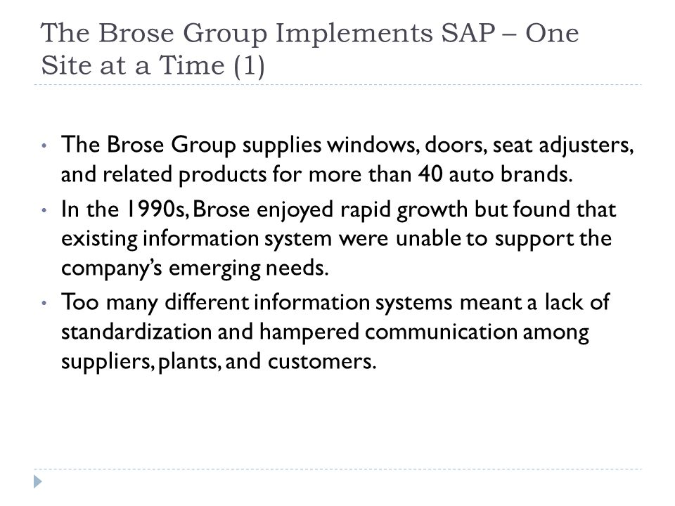 The Brose Group Implements SAP – One Site at a Time (1)