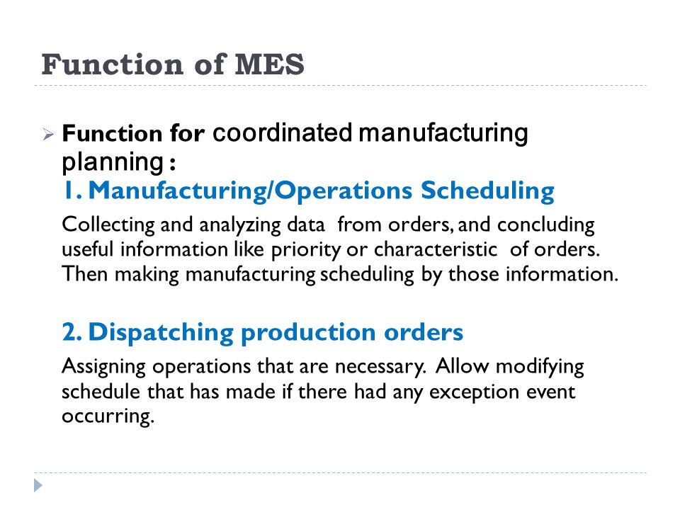 Function of MES Function for coordinated manufacturing planning : 1. Manufacturing/Operations Scheduling.