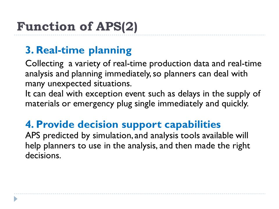 Function of APS(2) 3. Real-time planning