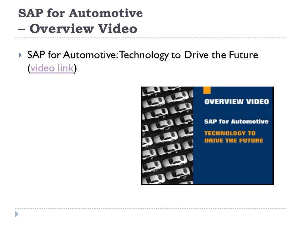 SAP for Automotive – Overview Video