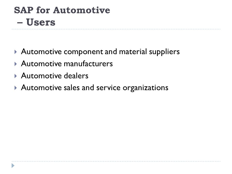 SAP for Automotive – Users