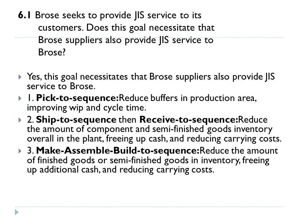 6.1 Brose seeks to provide JIS service to its