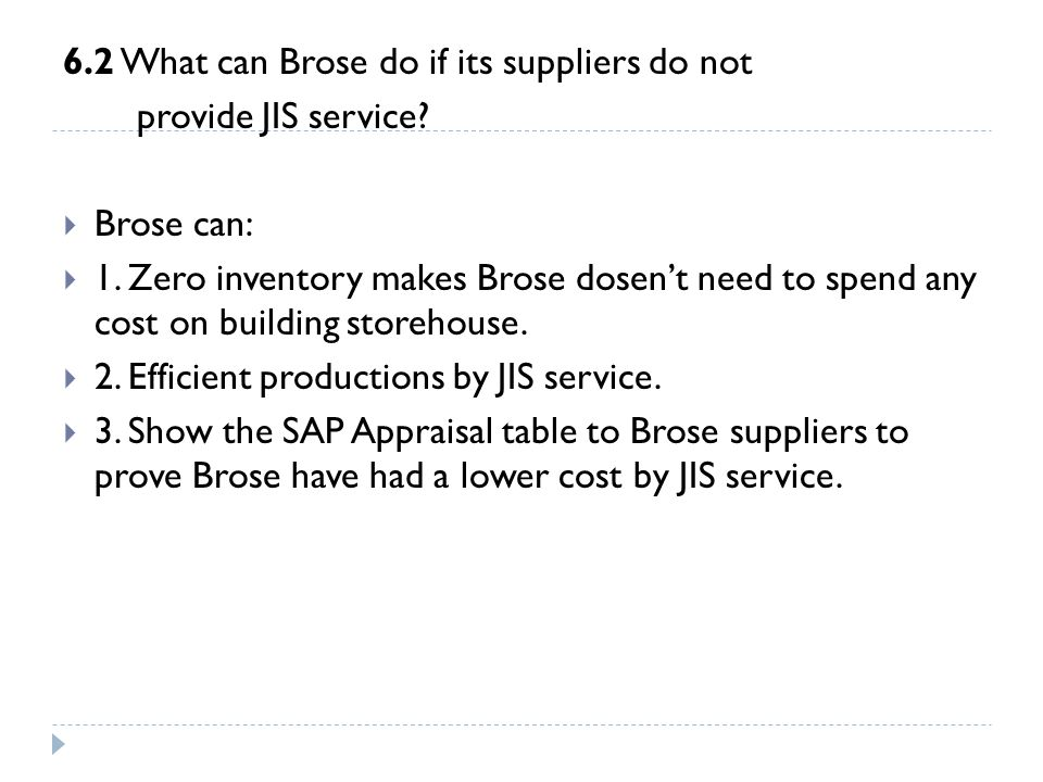 6.2 What can Brose do if its suppliers do not