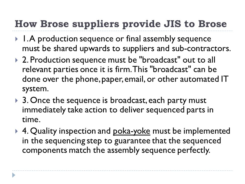 How Brose suppliers provide JIS to Brose