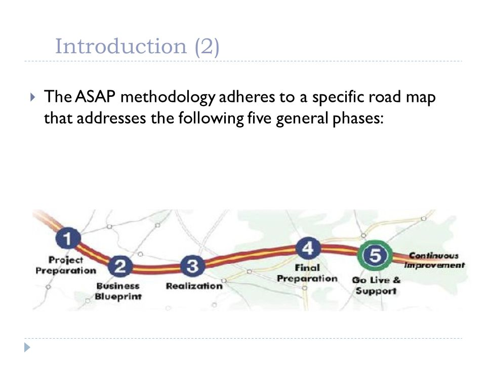Introduction (2) The ASAP methodology adheres to a specific road map that addresses the following five general phases: