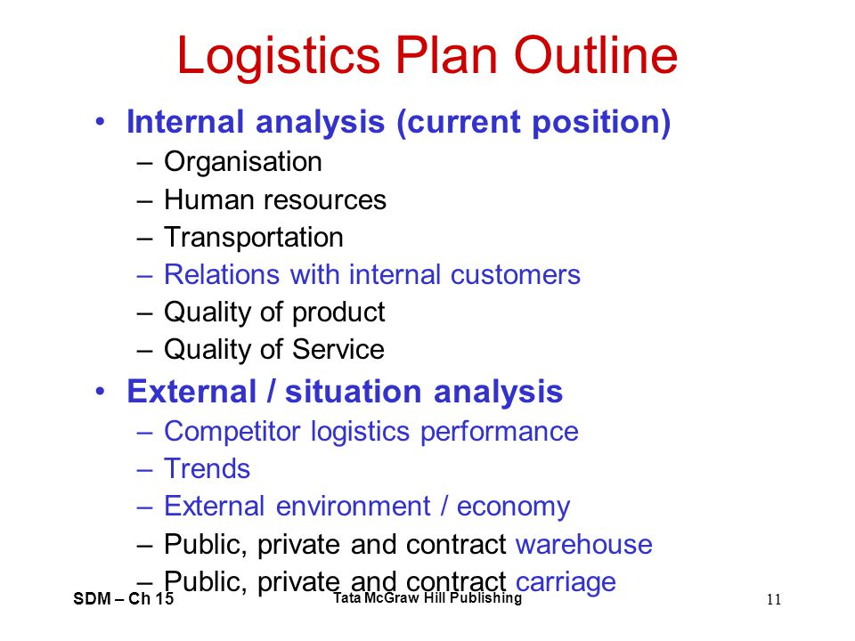 Logistics Plan Outline