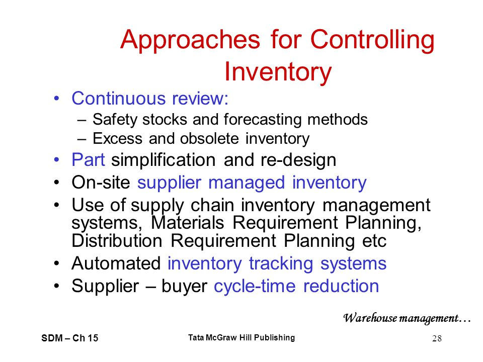 Approaches for Controlling Inventory