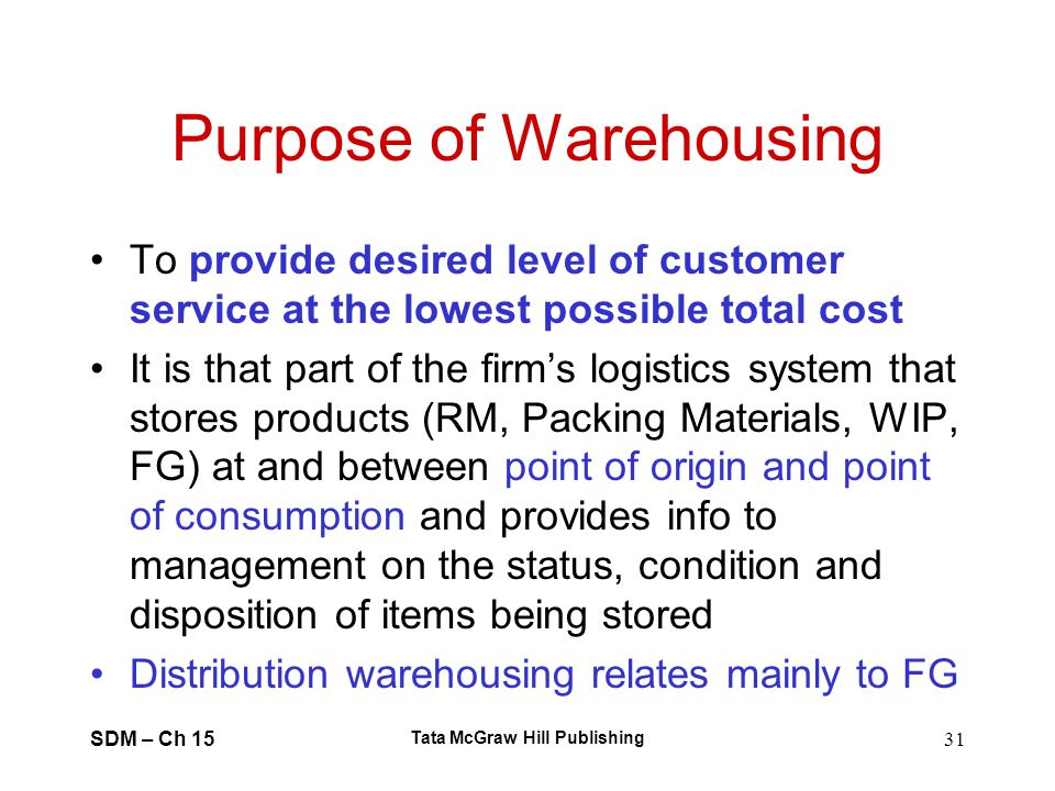 Purpose of Warehousing