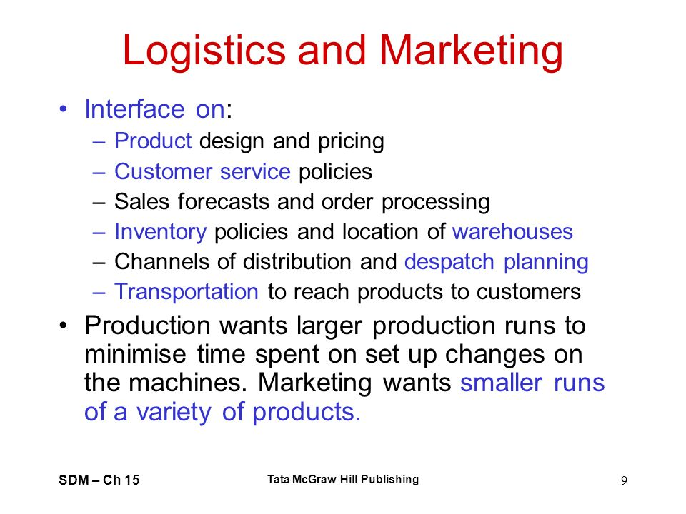 Logistics and Marketing