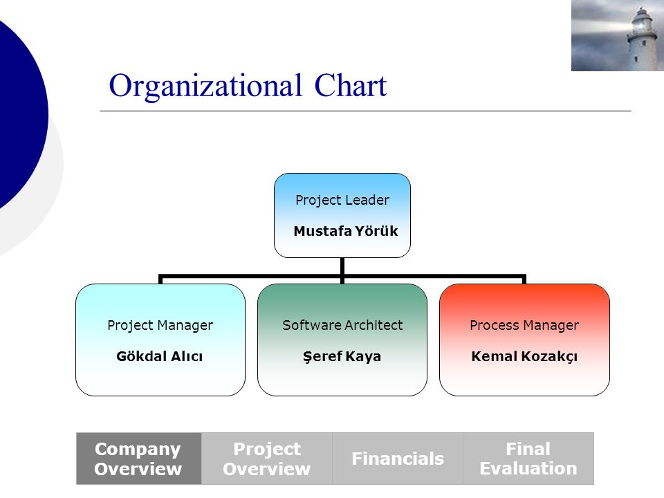 Organizational Chart Company Overview Project Overview Financials