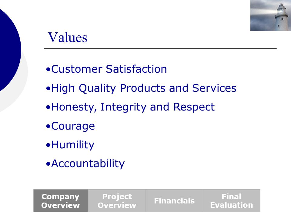 Values Customer Satisfaction High Quality Products and Services