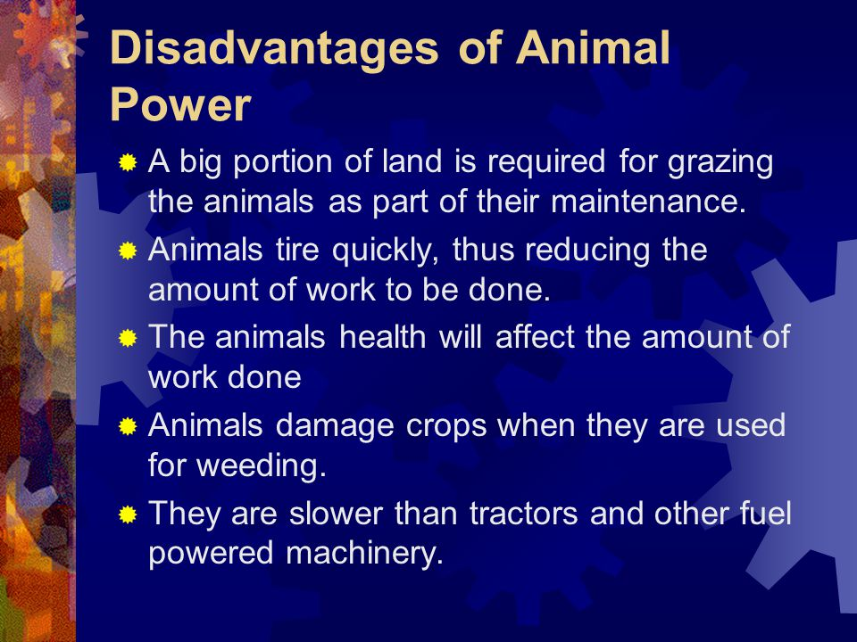 Disadvantages of Animal Power