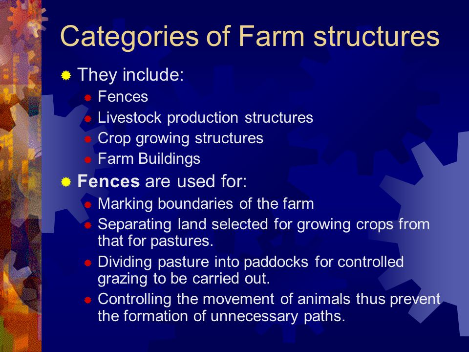 Categories of Farm structures