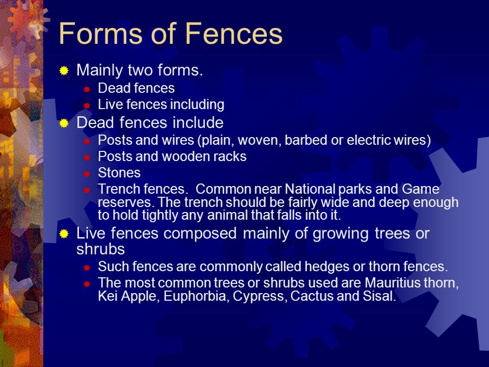 Forms of Fences Mainly two forms. Dead fences include