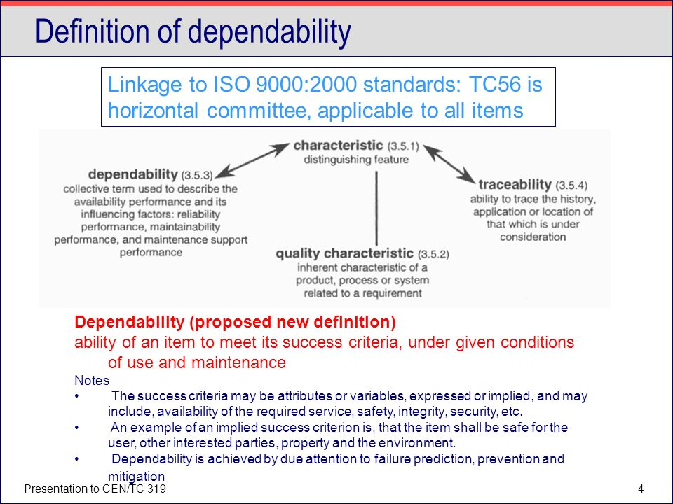 Definition of dependability