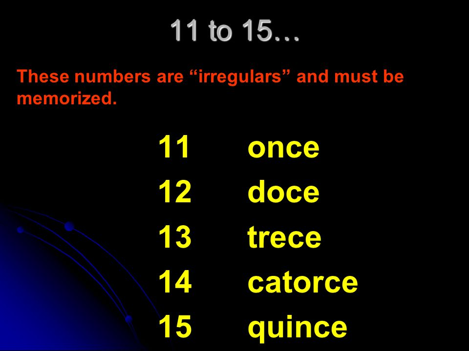 11 12 13 14 15 once doce trece catorce quince 11 to 15…
