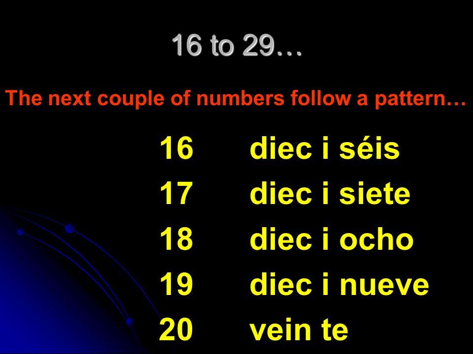 16 17 18 19 20 diec i séis diec i siete diec i ocho diec i nueve