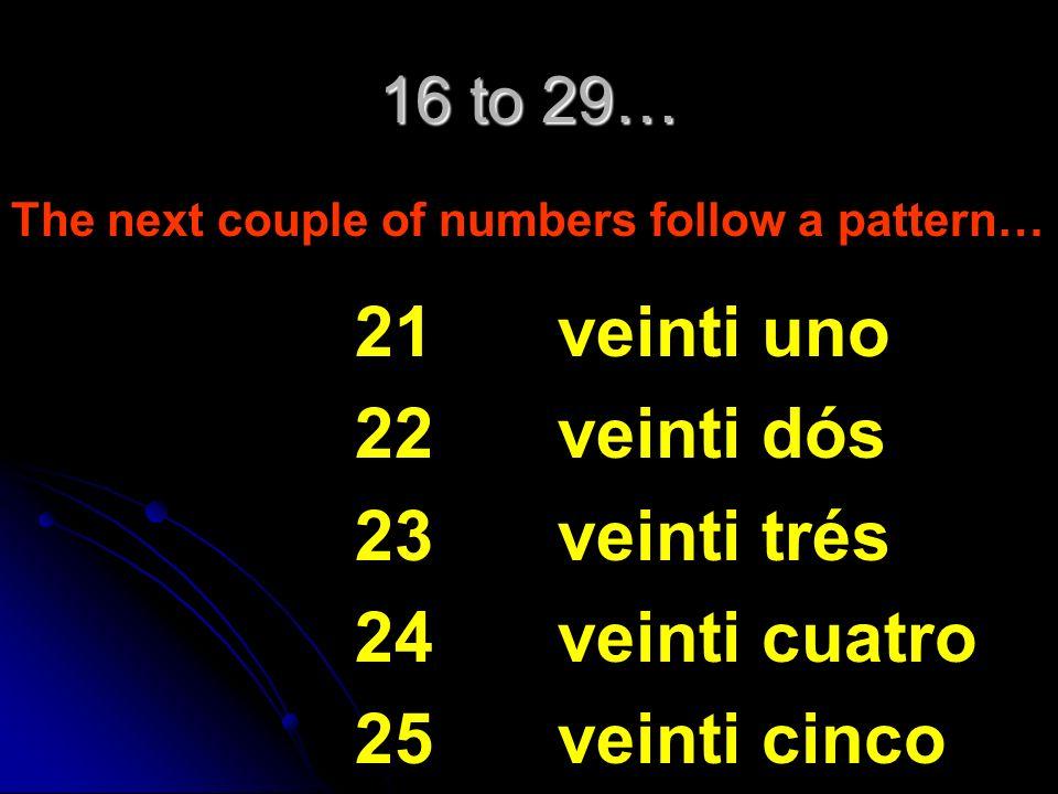 21 22 23 24 25 veinti uno veinti dós veinti trés veinti cuatro