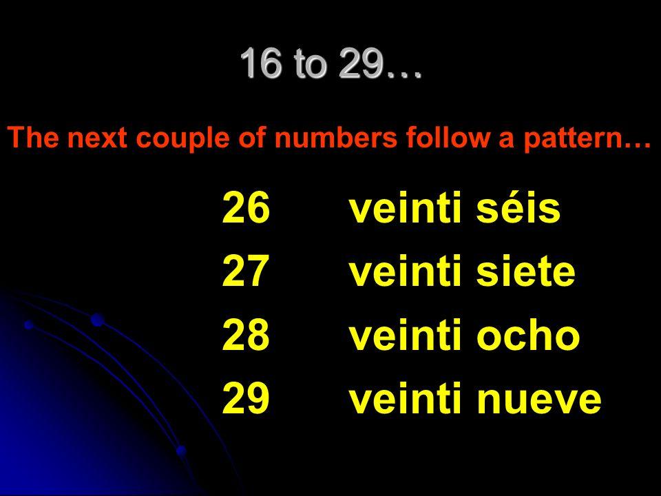 26 27 28 29 veinti séis veinti siete veinti ocho veinti nueve