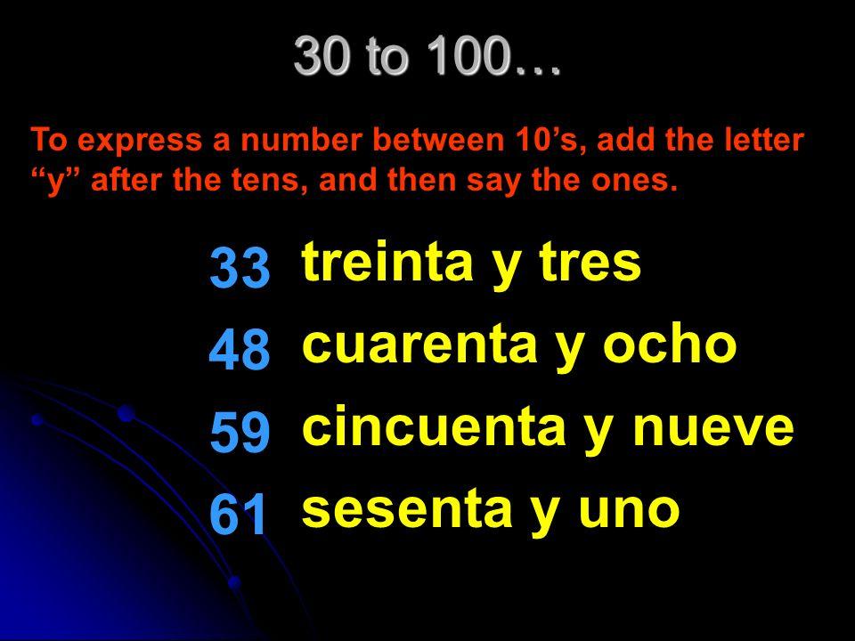 treinta y tres 33 cuarenta y ocho 48 cincuenta y nueve 59