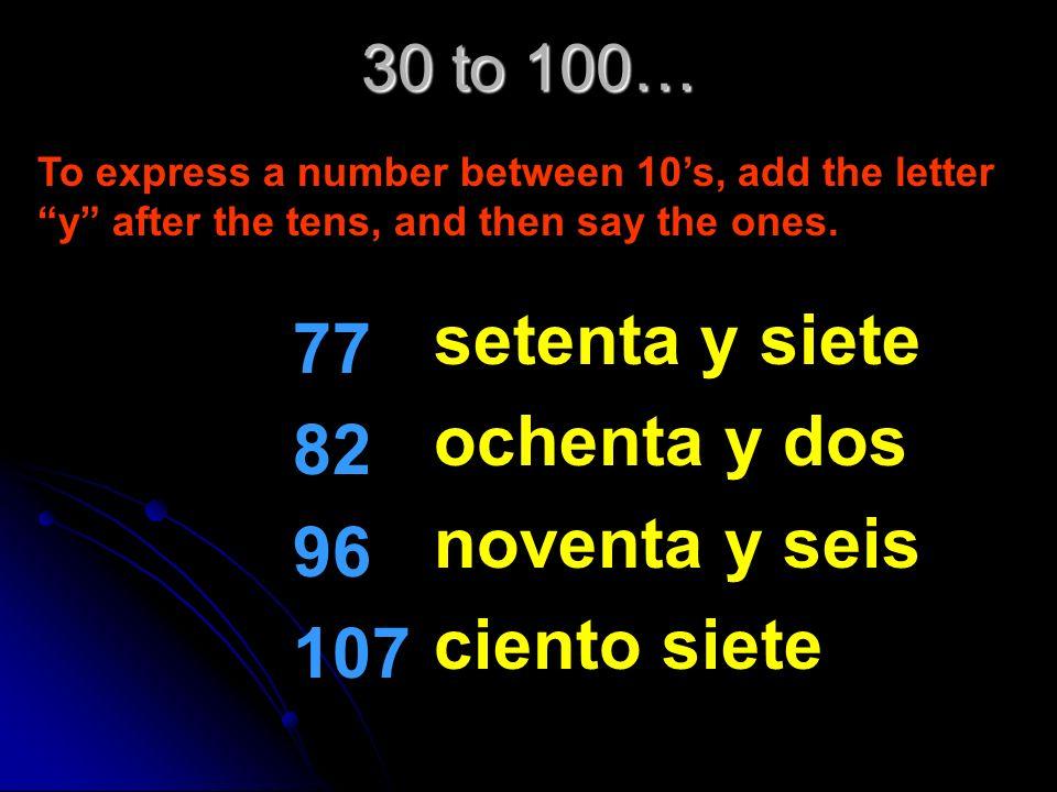 setenta y siete 77 ochenta y dos 82 noventa y seis 96 ciento siete 107