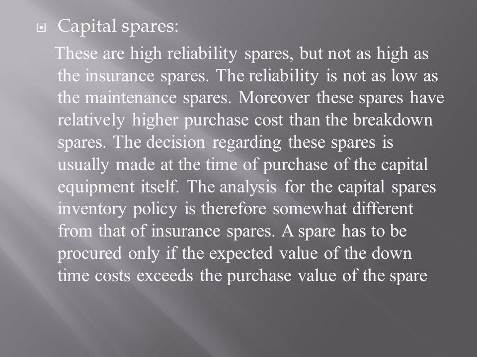 Capital spares: