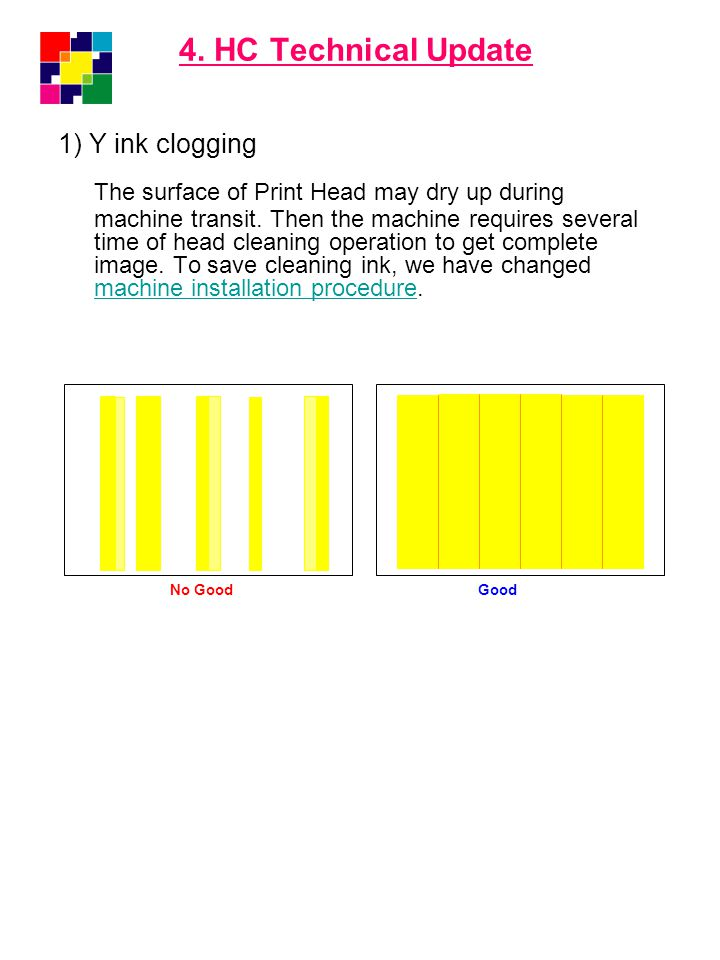 4. HC Technical Update 1) Y ink clogging.