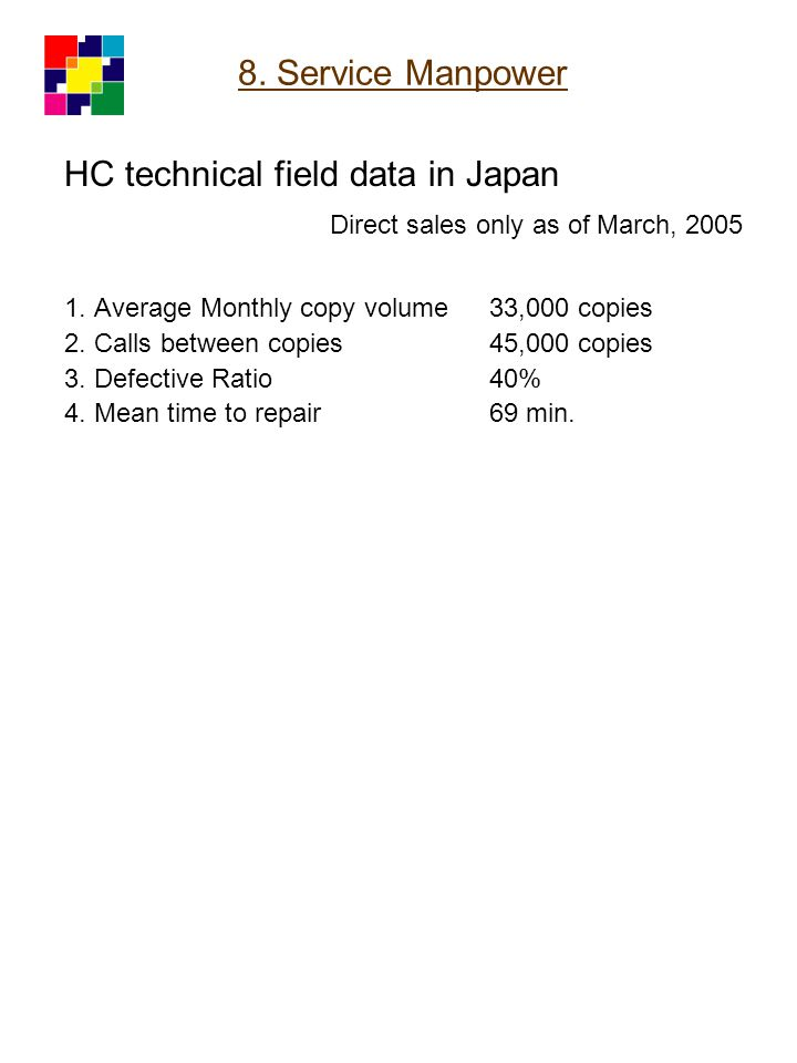 HC technical field data in Japan Direct sales only as of March, 2005