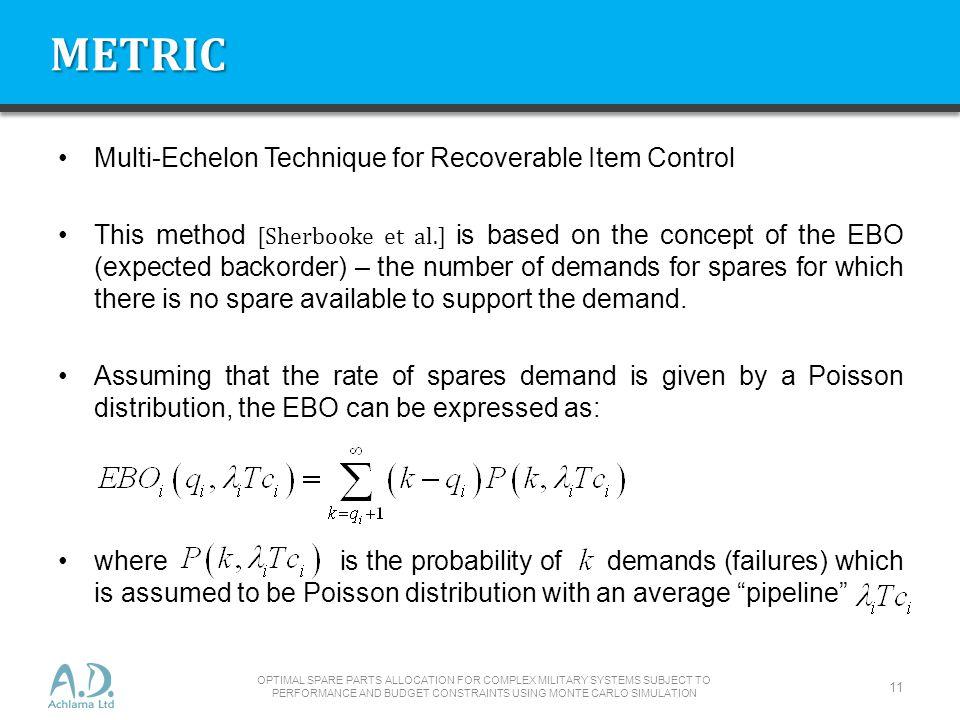 METRIC Multi-Echelon Technique for Recoverable Item Control