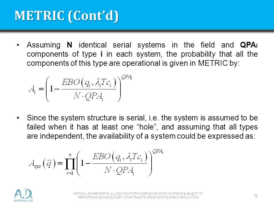 METRIC (Cont'd)