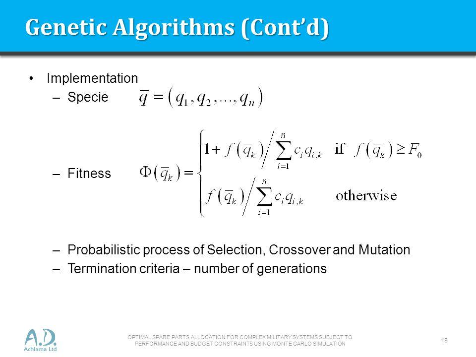 Genetic Algorithms (Cont'd)