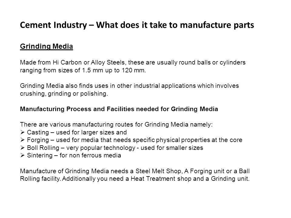 Cement Industry – What does it take to manufacture parts