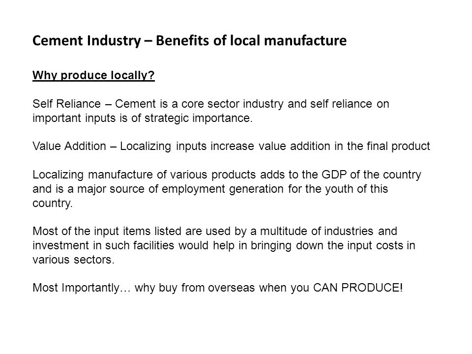 Cement Industry – Benefits of local manufacture