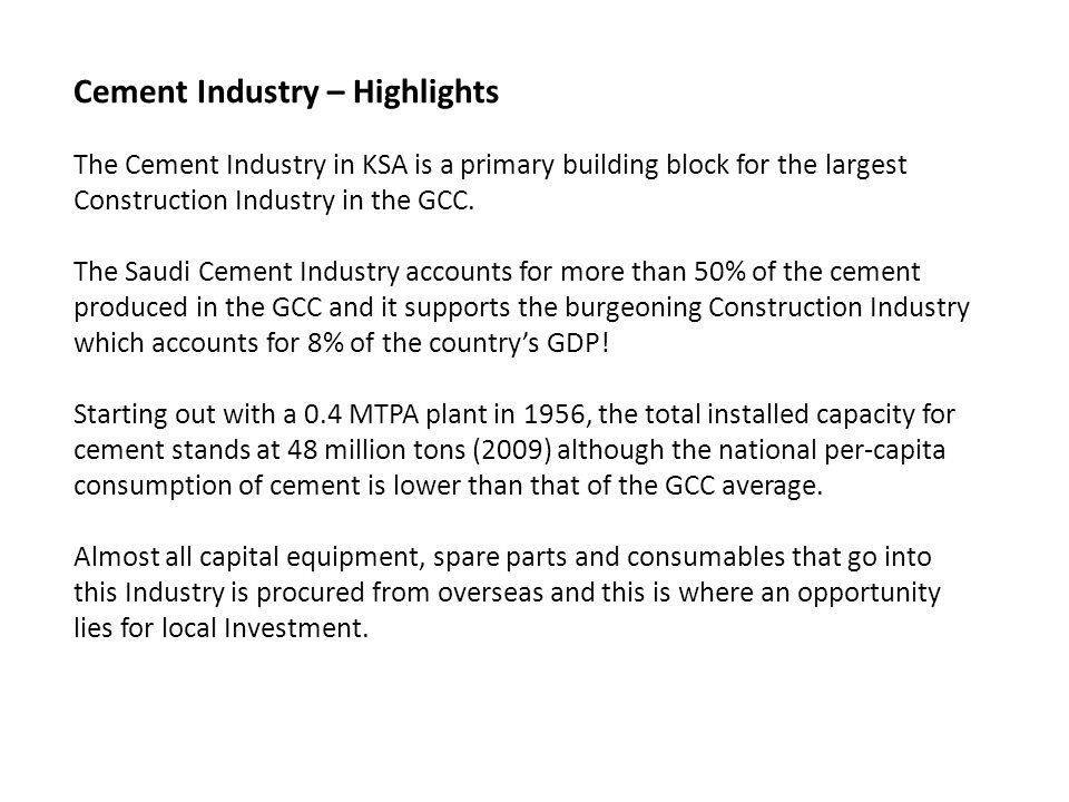 Cement Industry – Highlights