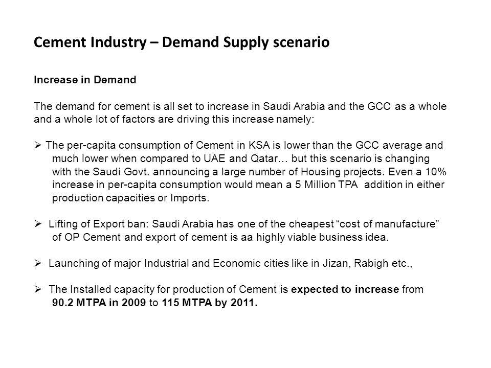 Cement Industry – Demand Supply scenario