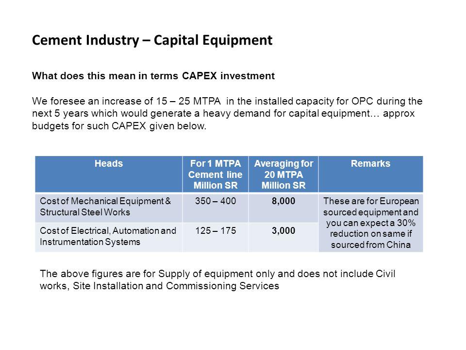 Cement Industry – Capital Equipment