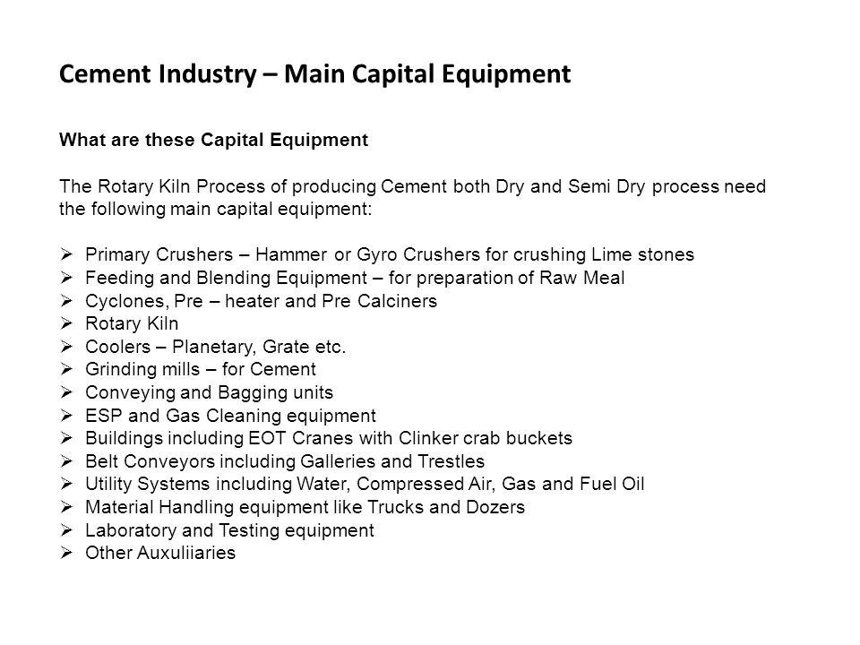 Cement Industry – Main Capital Equipment