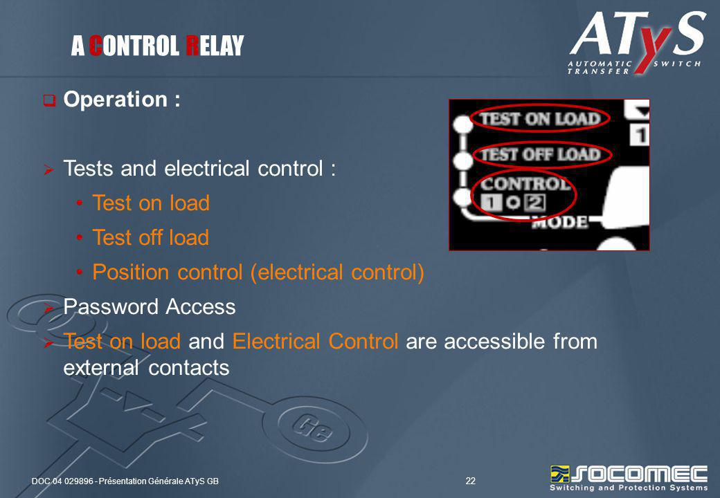 A CONTROL RELAY Operation : Tests and electrical control :
