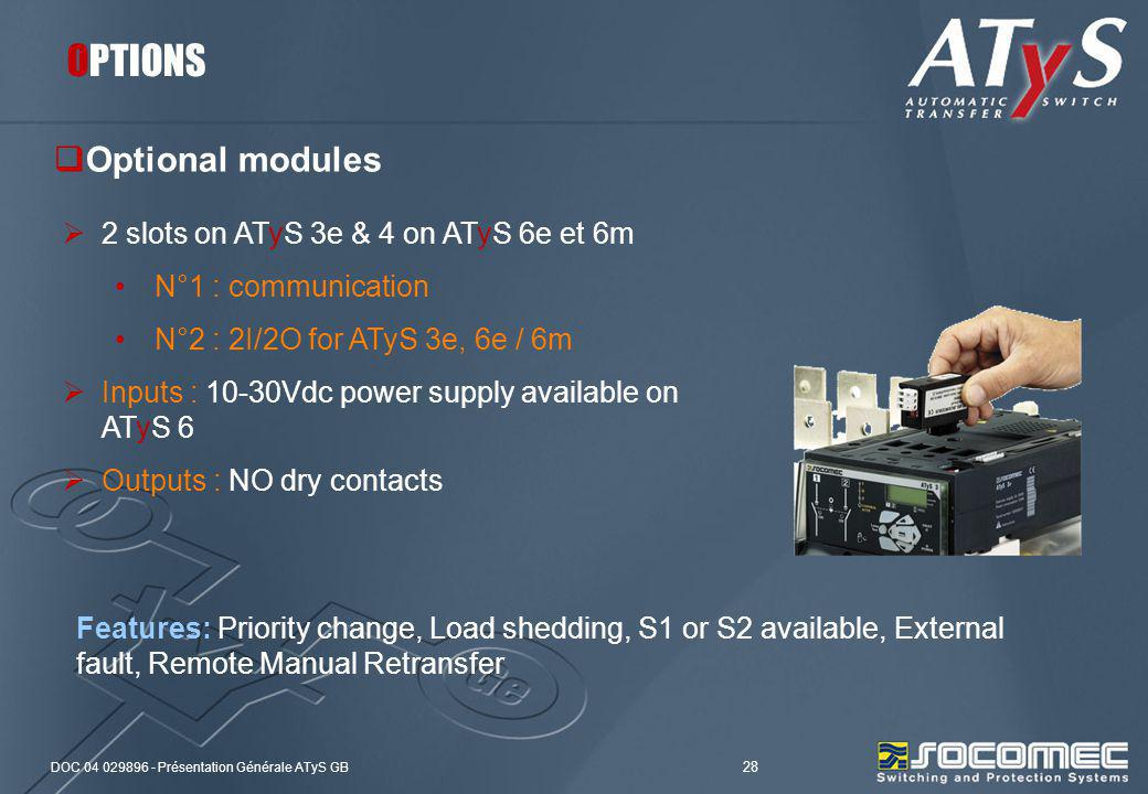 OPTIONS Optional modules 2 slots on ATyS 3e & 4 on ATyS 6e et 6m