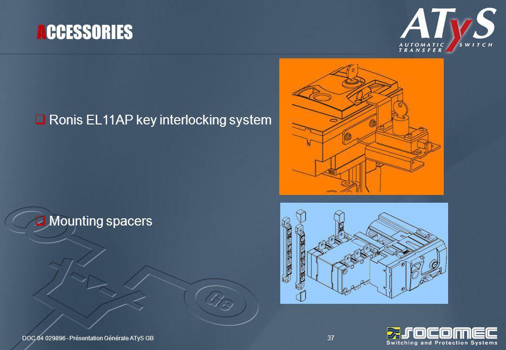 ACCESSORIES Ronis EL11AP key interlocking system Mounting spacers