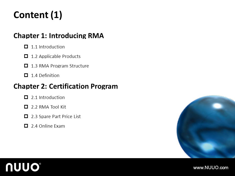 Content (1) Chapter 1: Introducing RMA