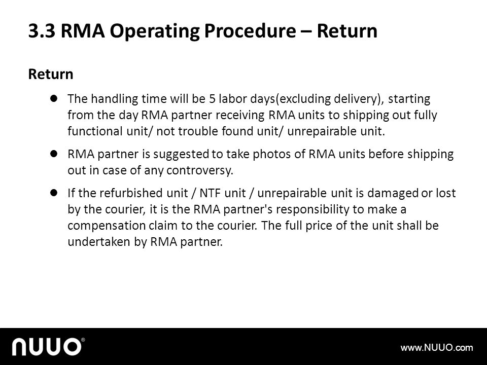 3.3 RMA Operating Procedure – Return