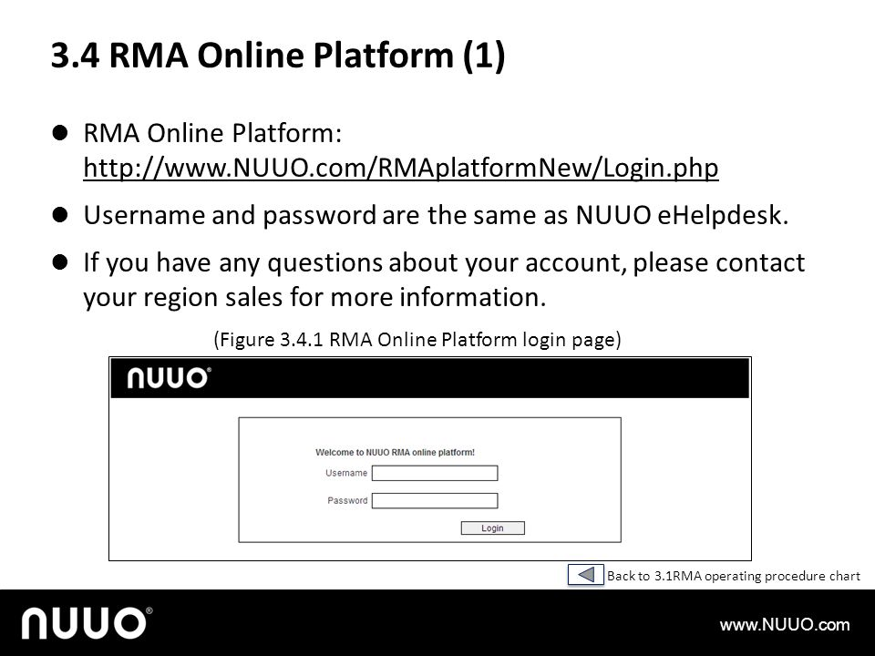 3.4 RMA Online Platform (1) RMA Online Platform: http://www.NUUO.com/RMAplatformNew/Login.php.