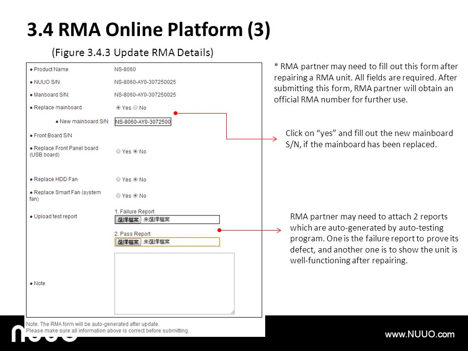 3.4 RMA Online Platform (3) (Figure 3.4.3 Update RMA Details)