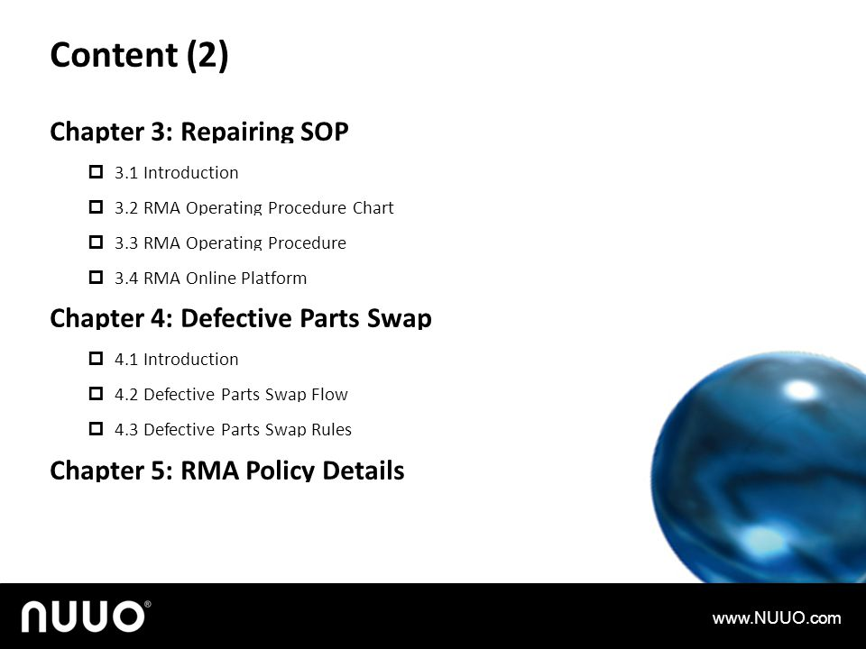 Content (2) Chapter 3: Repairing SOP Chapter 4: Defective Parts Swap