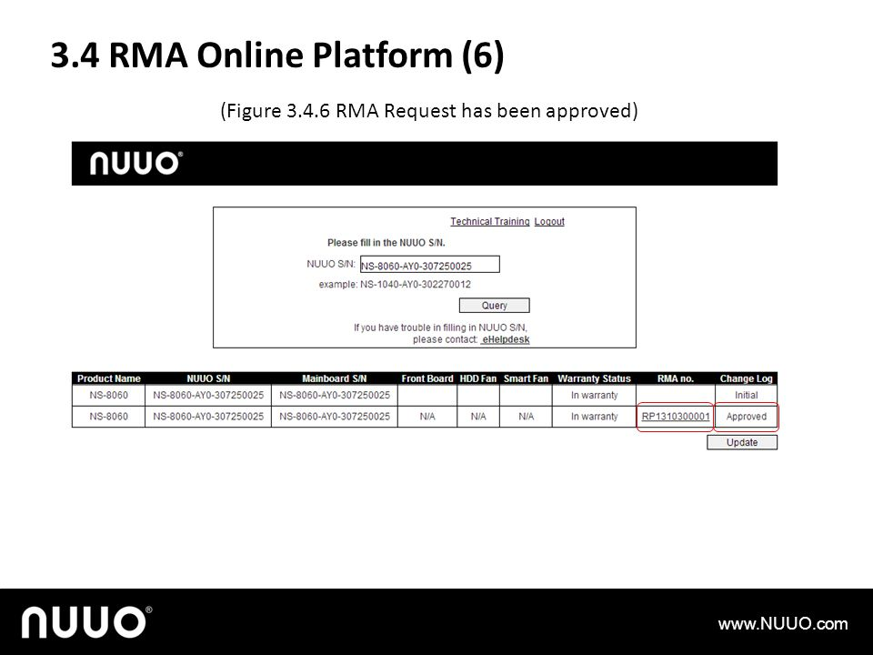 3.4 RMA Online Platform (6) (Figure 3.4.6 RMA Request has been approved) www.NUUO.com