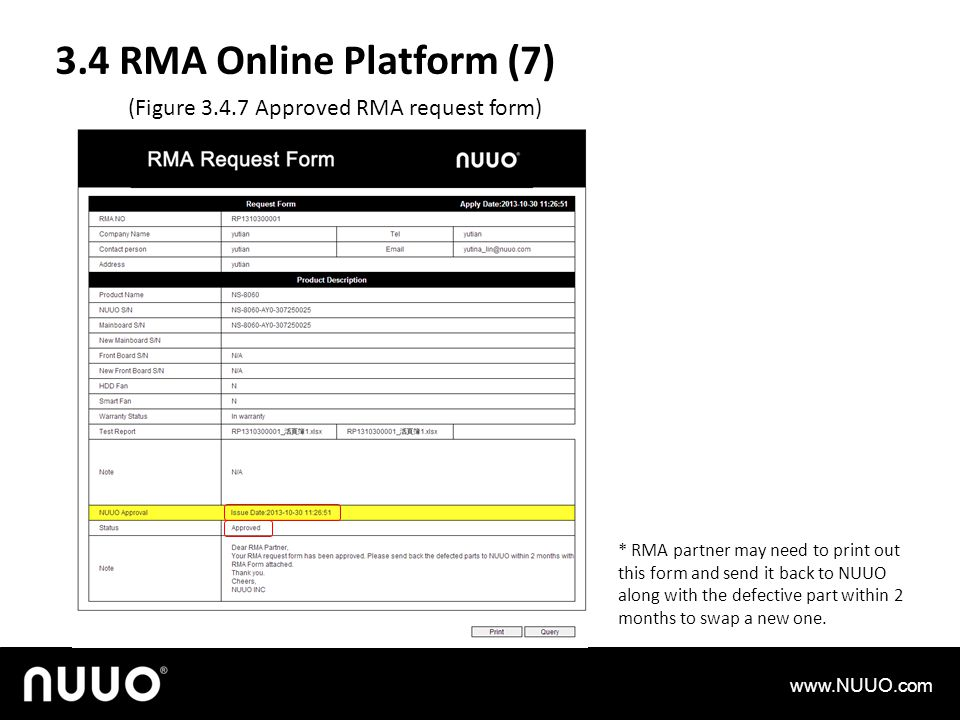 3.4 RMA Online Platform (7) (Figure 3.4.7 Approved RMA request form)