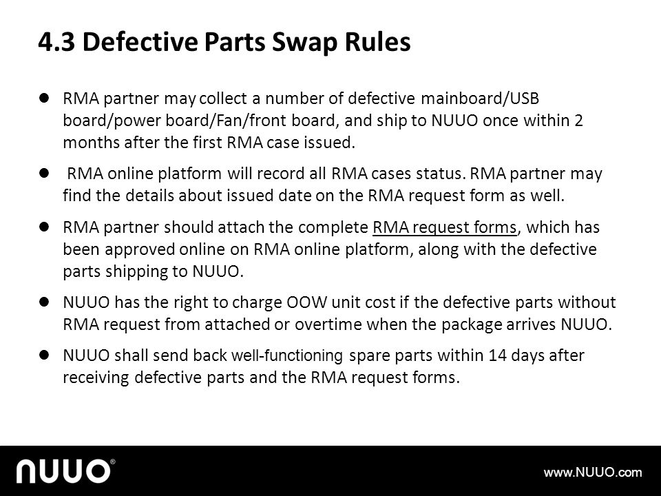 4.3 Defective Parts Swap Rules