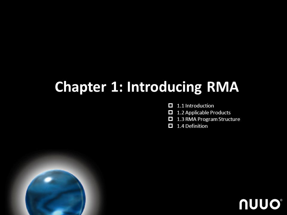 Chapter 1: Introducing RMA