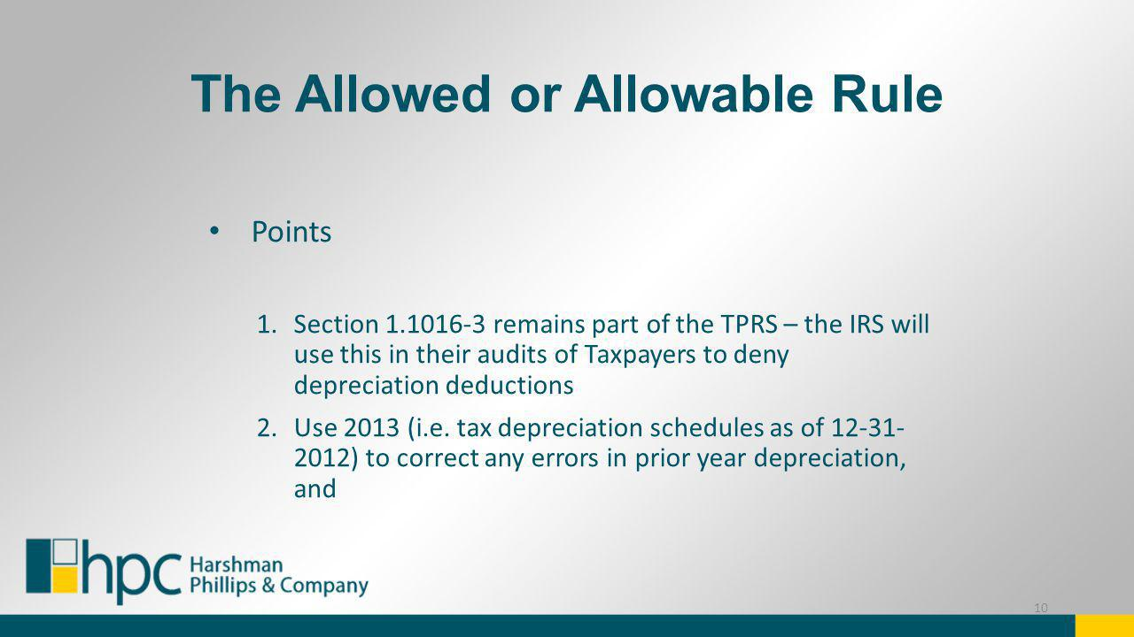 The Allowed or Allowable Rule